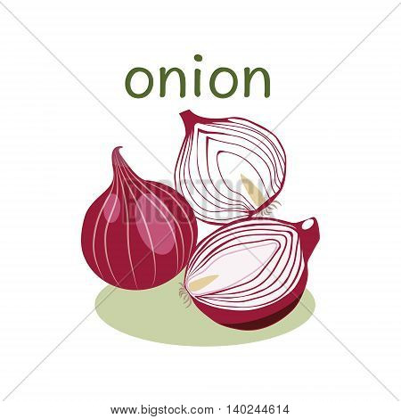 Red Onion Isolated object in flat style. Onion logo. Vegetable Organic food.Vector Illustration on white background.