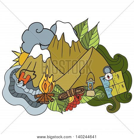 Recreation. Tourism and camping. Hand drawn doodle Elements - vector illustration. travel Components