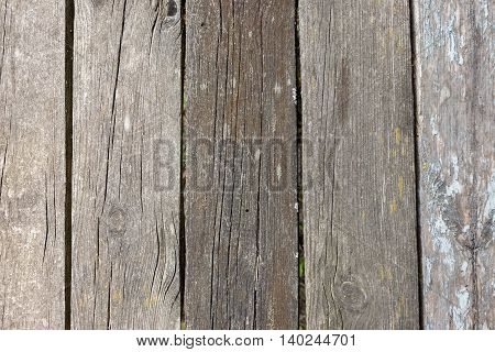 Close-up view of an old timbered wooden wall