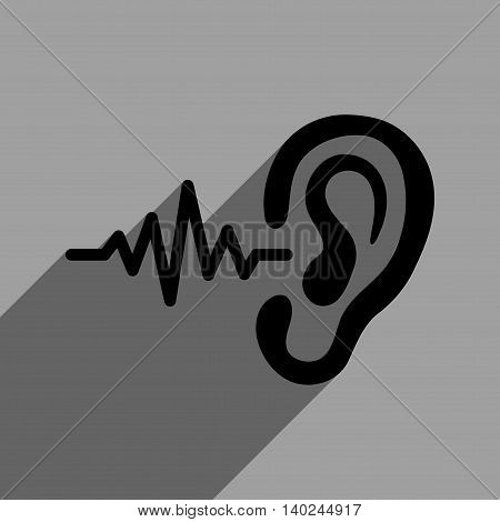 Listen Signal long shadow vector icon. Style is a flat listen signal black iconic symbol on a gray square background with longshadow.