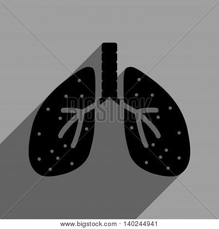 Lungs long shadow vector icon. Style is a flat lungs black iconic symbol on a gray square background with longshadow.
