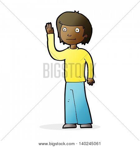 cartoon friendly boy waving