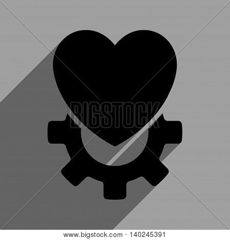 Mechanical Heart long shadow vector icon. Style is a flat Mechanical heart black iconic symbol on a gray square background with longshadow.