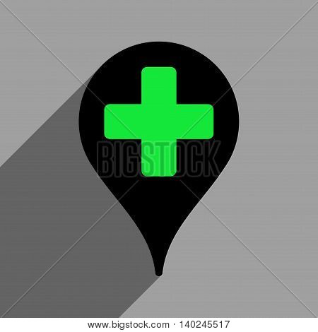Medical Map Marker long shadow vector icon. Style is a flat medical map marker black iconic symbol on a gray square background with longshadow.