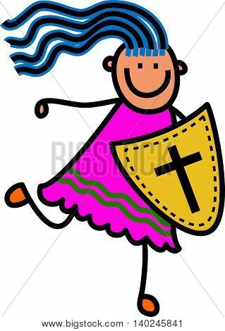 Happy cartoon stick girl holding a shield with a cross shaped symbol designed onto it.