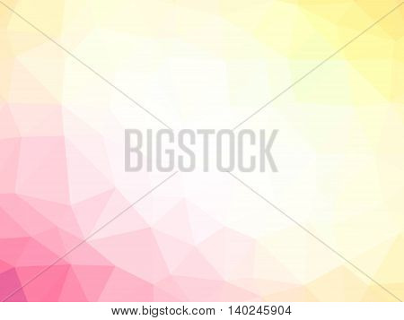 Abstract pink yellow white gradient polygon shaped background.