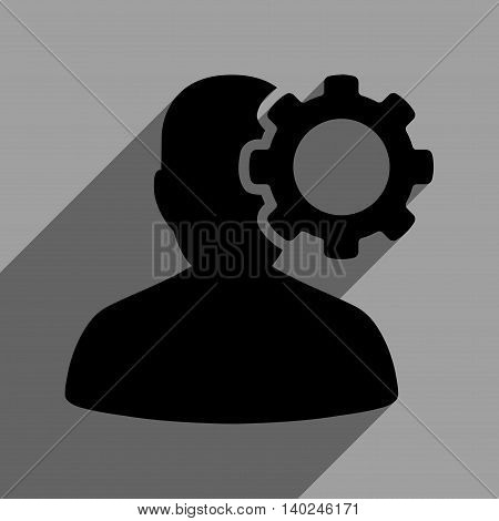 Migraine long shadow vector icon. Style is a flat migraine black iconic symbol on a gray square background with longshadow.