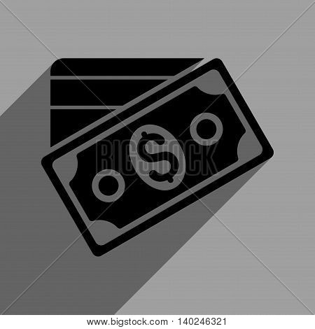 Money long shadow vector icon. Style is a flat money black iconic symbol on a gray square background with longshadow.