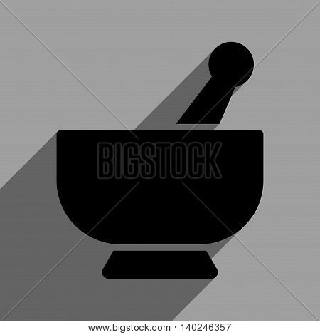 Mortar long shadow vector icon. Style is a flat mortar black iconic symbol on a gray square background with longshadow.