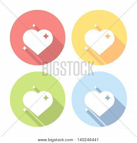 Heart With Sparks Flat Icons Set
