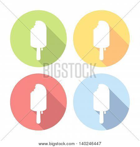 Icecream With Chocolate Flat Icons Set