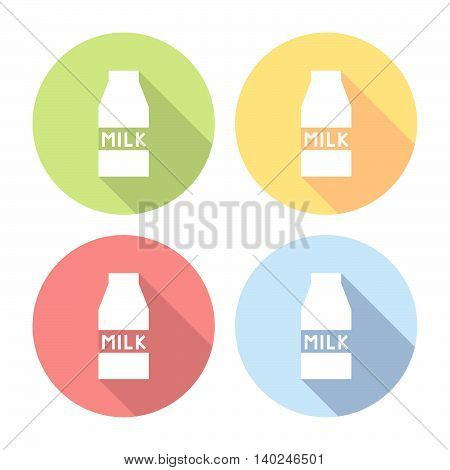 Milk Carton Package Flat Icons Set