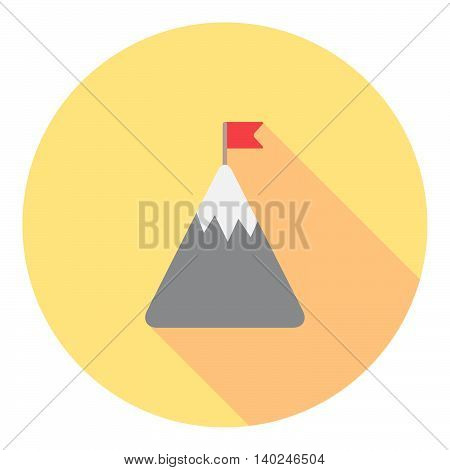 Mountain With Flag On The Top Flat Icon