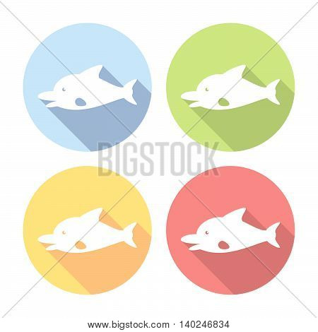 Dolphin Marine Animal Flat Icons Set