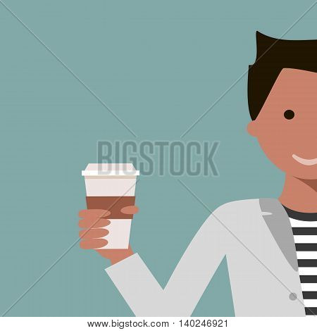 Man drinking coffee or tea. Coffee time concept. Vector illustration flat design.