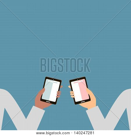 Hands holding a mobile phone, smartphone banner with place for text. Vector illustration flat design