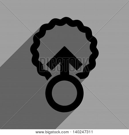 Ovum Penetration long shadow vector icon. Style is a flat ovum penetration black iconic symbol on a gray square background with longshadow.