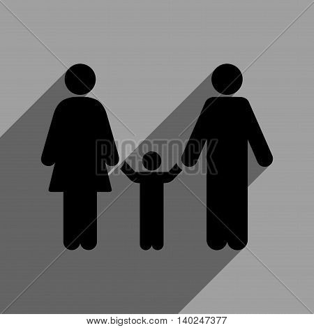 Parents and Child long shadow vector icon. Style is a flat Parents and child black iconic symbol on a gray square background with longshadow.