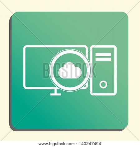 Pc Cloud Icon In Vector Format. Premium Quality Pc Cloud Symbol. Web Graphic Pc Cloud Sign On Green