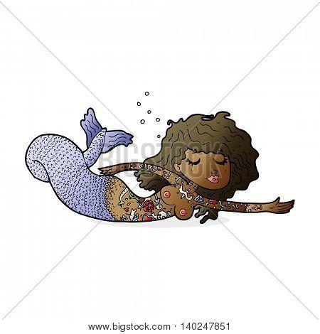 cartoon mermaid with tattoos