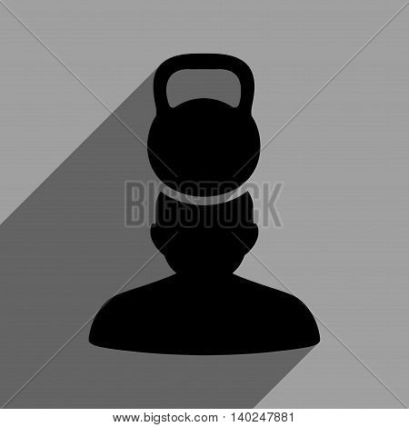 Patient Stress long shadow vector icon. Style is a flat patient stress black iconic symbol on a gray square background with longshadow.