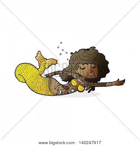 cartoon mermaid covered in tattoos