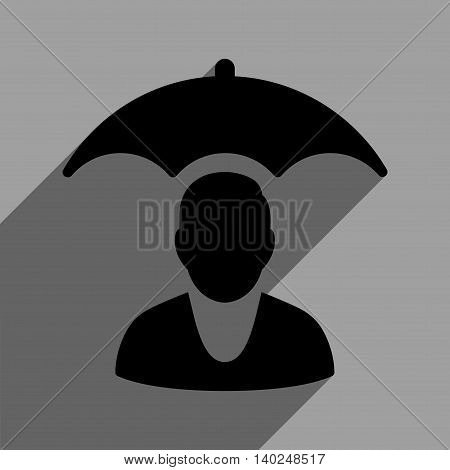 Personal Insurance Protection long shadow vector icon. Style is a flat personal insurance protection black iconic symbol on a gray square background with longshadow.