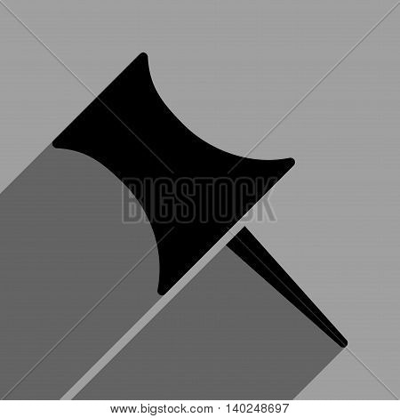 Pin long shadow vector icon. Style is a flat pin black iconic symbol on a gray square background with longshadow.