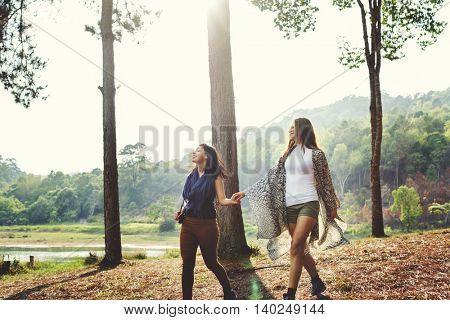 People Friendship Hangout Traveling Destination Camping Concept