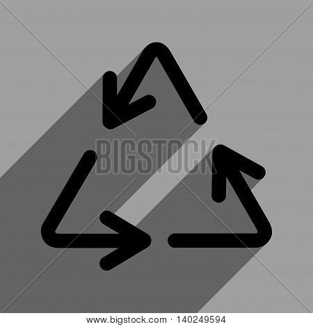 Recycle Arrows long shadow vector icon. Style is a flat recycle arrows black iconic symbol on a gray square background with longshadow.