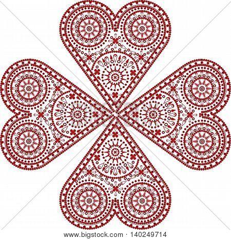 Red heart handmade crochet ornament . Vector illustration
