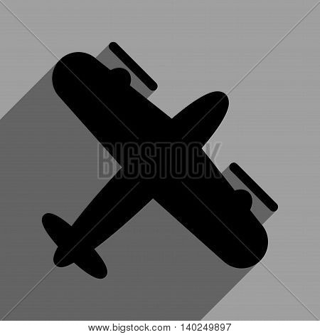 Screw Aeroplane long shadow vector icon. Style is a flat screw aeroplane black iconic symbol on a gray square background with longshadow.