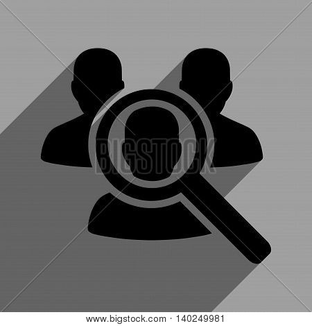 Search Patient long shadow vector icon. Style is a flat search patient black iconic symbol on a gray square background with longshadow.