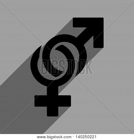 Sexual Symbols long shadow vector icon. Style is a flat sexual symbols black iconic symbol on a gray square background with longshadow.