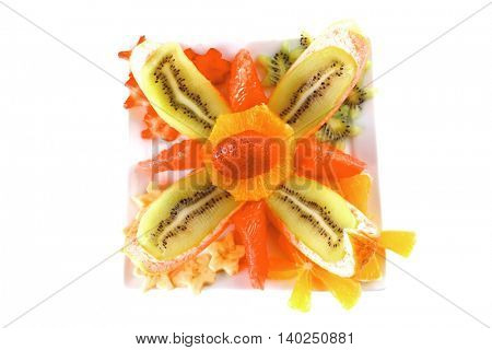 raw fruits on plate over white background