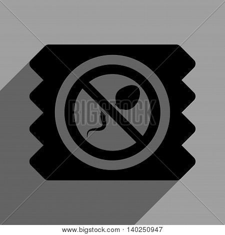 Spermicide Condom long shadow vector icon. Style is a flat spermicide condom black iconic symbol on a gray square background with longshadow.
