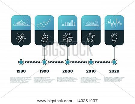 Timeline chart infographic with banners vector template. Infographic presentation with timeline, illustration data with info diagram and timeline