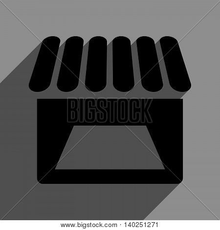 Store Facade long shadow vector icon. Style is a flat store facade black iconic symbol on a gray square background with longshadow.