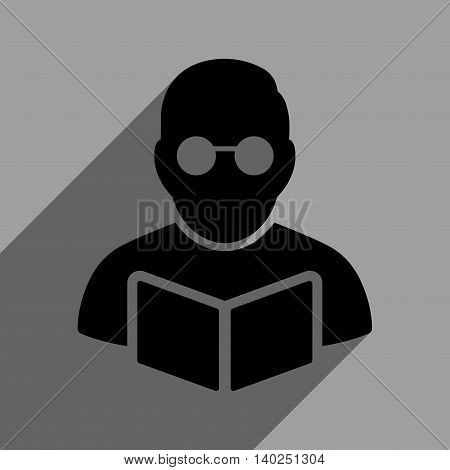 Student Reading Book long shadow vector icon. Style is a flat Student reading book black iconic symbol on a gray square background with longshadow.