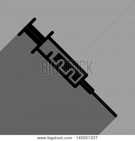Syringe long shadow vector icon. Style is a flat syringe black iconic symbol on a gray square background with longshadow.