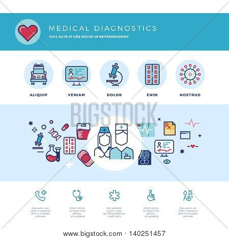 Medical diagnostics, medicine research laboratory vector concept for web design. Medicine laboratory and hospital, illustration of medicine care and support