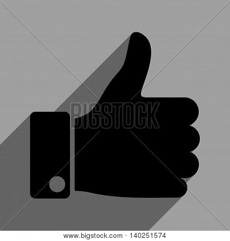 Thumb Up long shadow vector icon. Style is a flat thumb up black iconic symbol on a gray square background with longshadow.