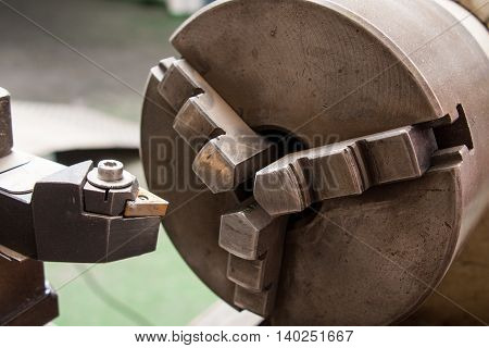 industrial boring mill machinery cutter close up