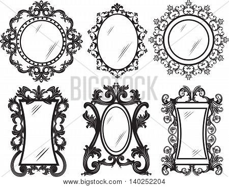 Set of Vintage Retro Vector frames. Black and gold ornamented frames