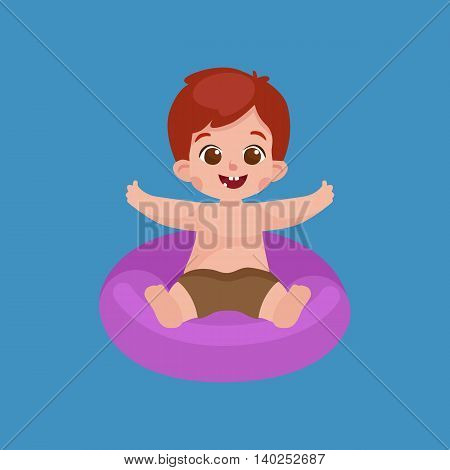 boy in swimsuit isolated, kids summer vacation vector illustration pictograms