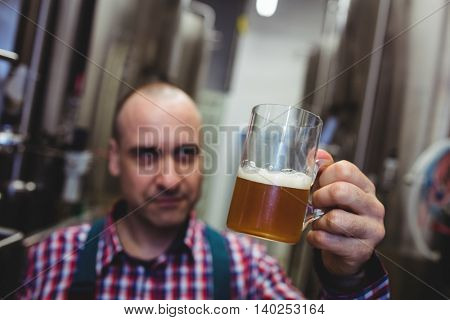 Manufacturer looking at beer mug at brewey