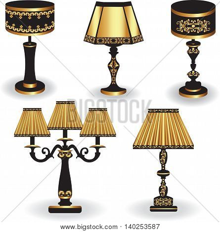 Set of Vintage Table lamp with luxury ornaments Golden Black. Vector