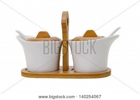 Device for sauces on a white background