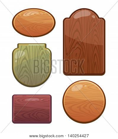 vector Set of wooden boards with diferent shapes, color. Empty badges and stickers for your personal design projects. Labels with place for your text