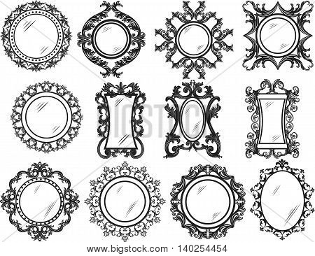 Set of Vintage Retro Round Vector frames. Black and white ornamented workframe